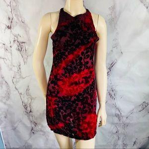 Somedays loving blood red velvet burnout dress Xs
